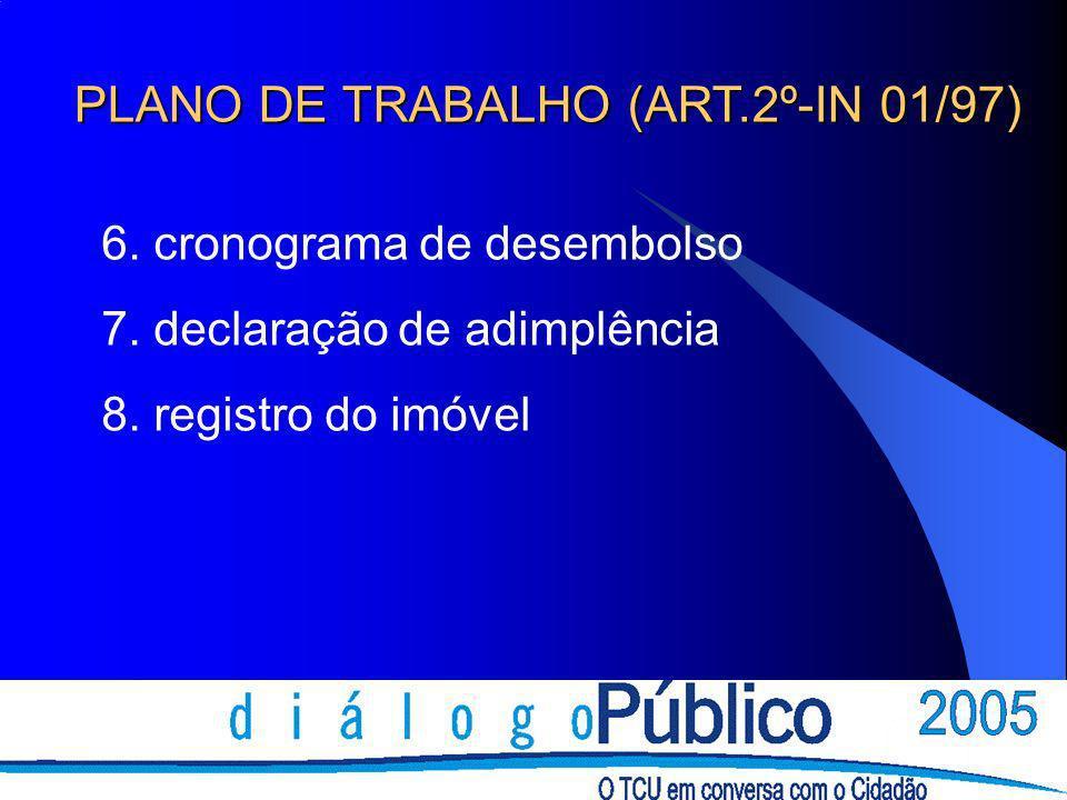 6. cronograma de desembolso 7. declaração de adimplência 8. registro do imóvel PLANO DE TRABALHO (ART.2º-IN 01/97)