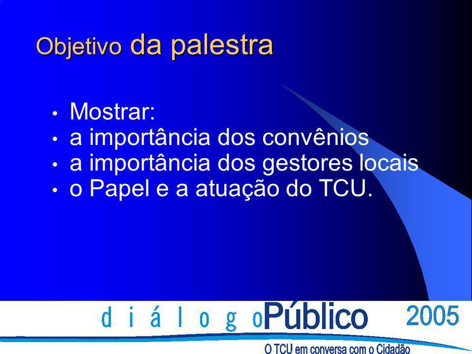 Objetivo da palestra Mostrar: a importância dos convênios a importância dos gestores locais o Papel e a atuação do TCU.