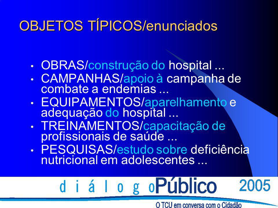 OBJETOS TÍPICOS/enunciados OBRAS/construção do hospital... CAMPANHAS/apoio à campanha de combate a endemias... EQUIPAMENTOS/aparelhamento e adequação