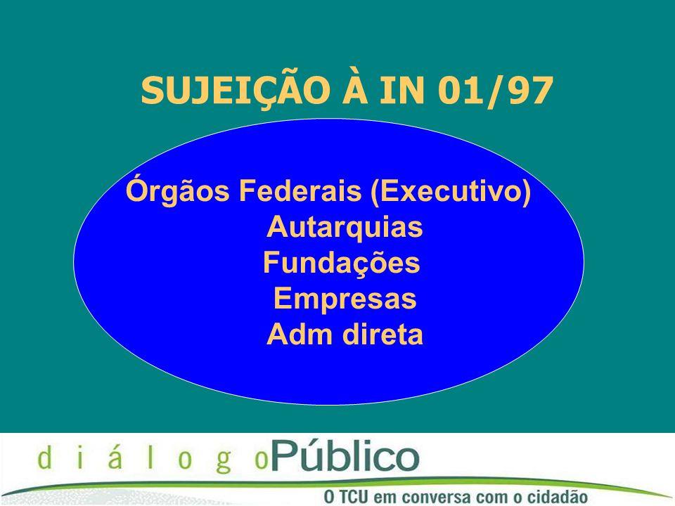SUJEIÇÃO À IN 01/97 Órgãos Federais (Executivo) Autarquias Fundações Empresas Adm direta