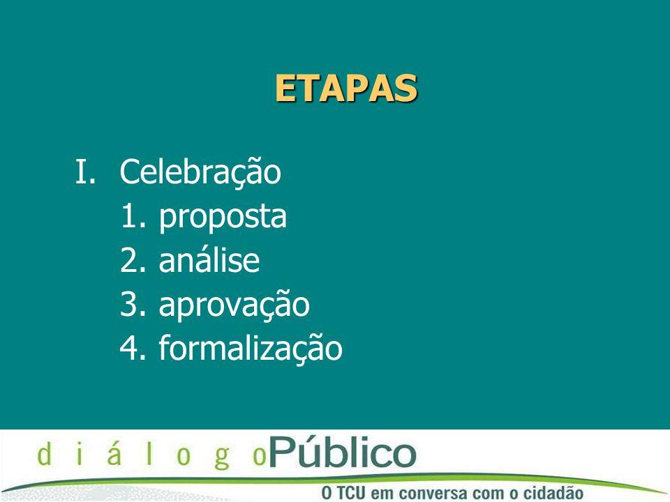 ETAPAS I.Celebração 1. proposta 2. análise 3. aprovação 4. formalização
