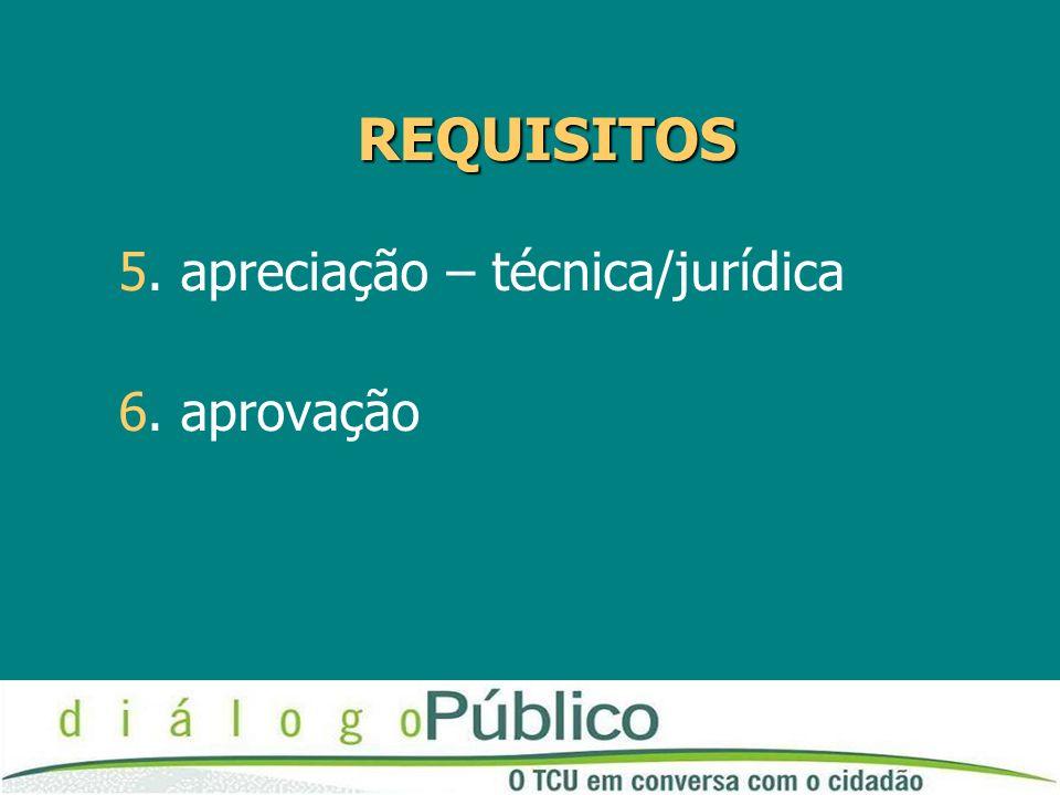 REQUISITOS 5. apreciação – técnica/jurídica 6. aprovação