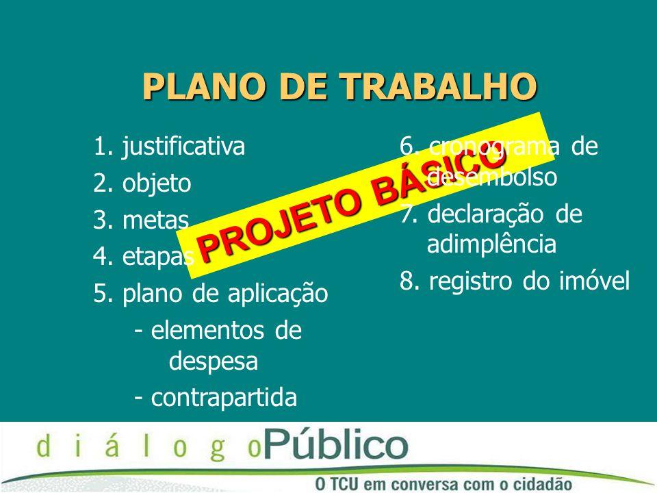 PROJETO BÁSICO PROJETO BÁSICO PLANO DE TRABALHO 1.