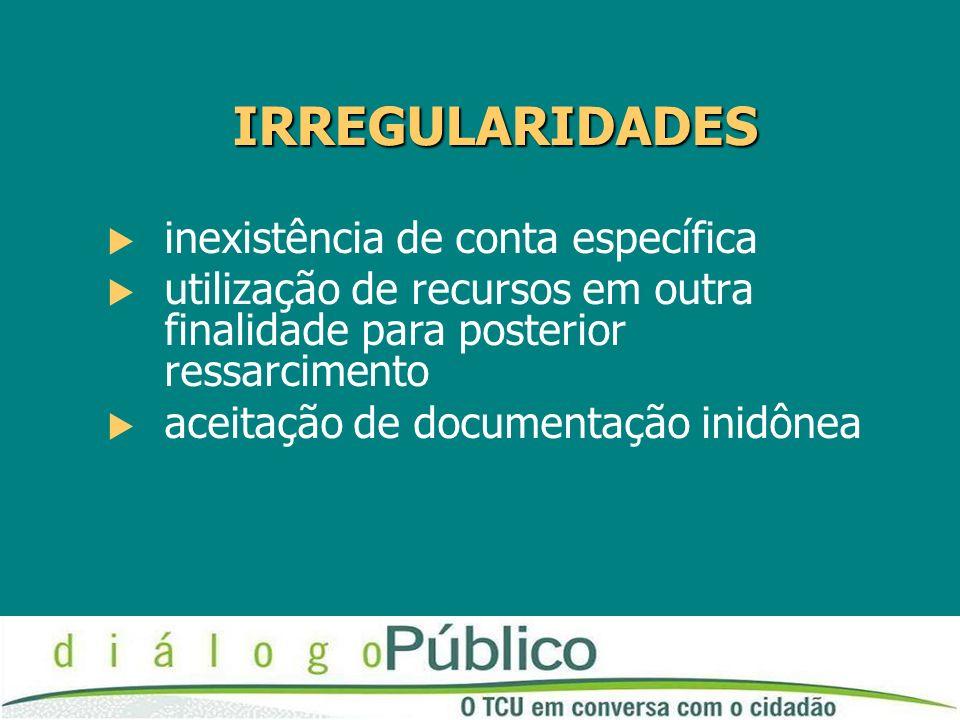 IRREGULARIDADES inexistência de conta específica utilização de recursos em outra finalidade para posterior ressarcimento aceitação de documentação inidônea