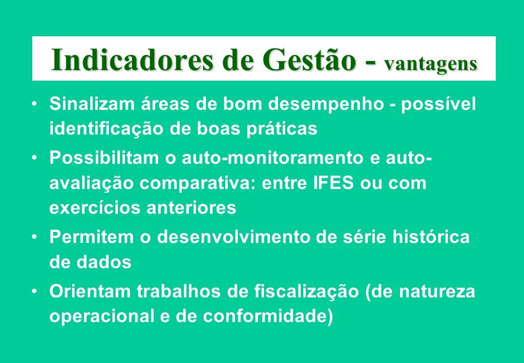 Indicadores de Gestão - vantagens Sinalizam áreas de bom desempenho - possível identificação de boas práticas Possibilitam o auto-monitoramento e auto