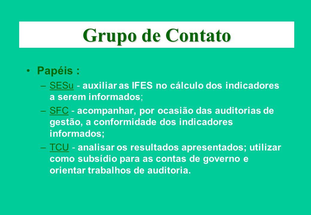 Grupo de Contato Papéis : –SESu - auxiliar as IFES no cálculo dos indicadores a serem informados; –SFC - acompanhar, por ocasião das auditorias de ges