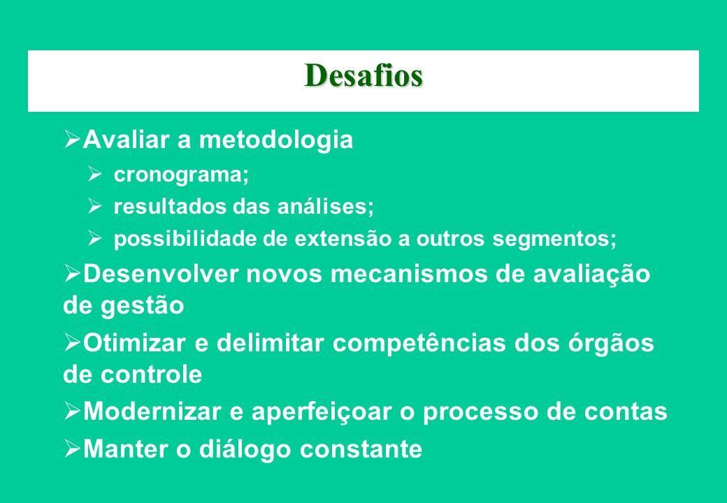 Desafios Avaliar a metodologia cronograma; resultados das análises; possibilidade de extensão a outros segmentos; Desenvolver novos mecanismos de aval