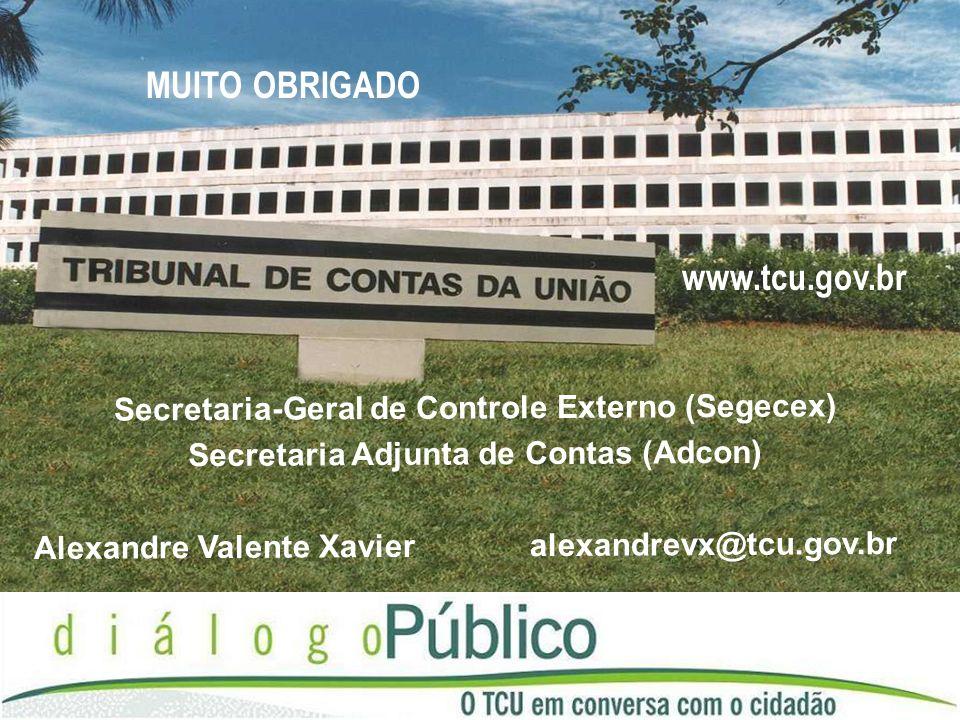 MUITO OBRIGADO www.tcu.gov.br Secretaria-Geral de Controle Externo (Segecex) Secretaria Adjunta de Contas (Adcon) Alexandre Valente Xavier alexandrevx@tcu.gov.br