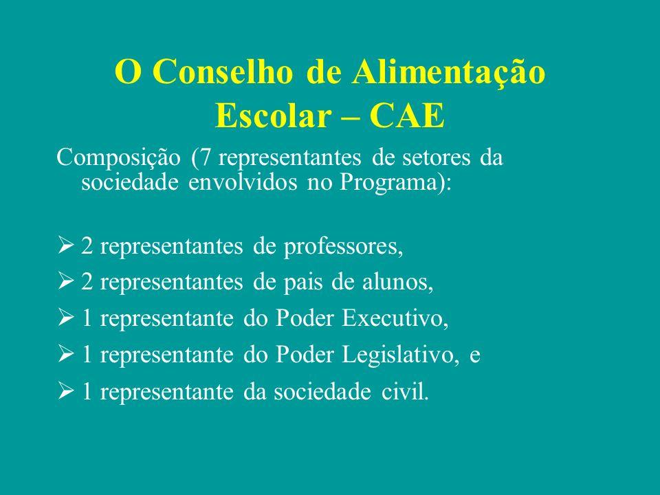 O Conselho de Alimentação Escolar – CAE são escolhidos e indicados pelo grupo que representam; são nomeados pelo Prefeito; o Prefeito não pode rejeitar as indicações do grupo; o Prefeito indica o representante do Poder Executivo, mas o indicado não pode ser o responsável pela execução do Programa.