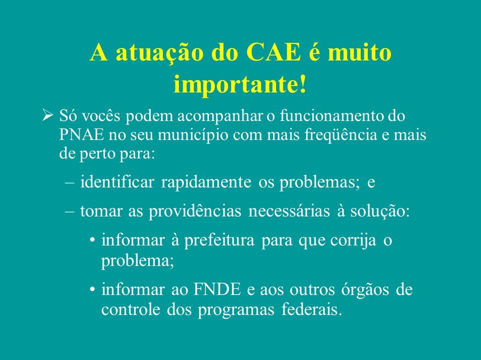 Prefeitura e CAE: papéis diferentes.A Prefeitura é responsável por executar as ações do PNAE.