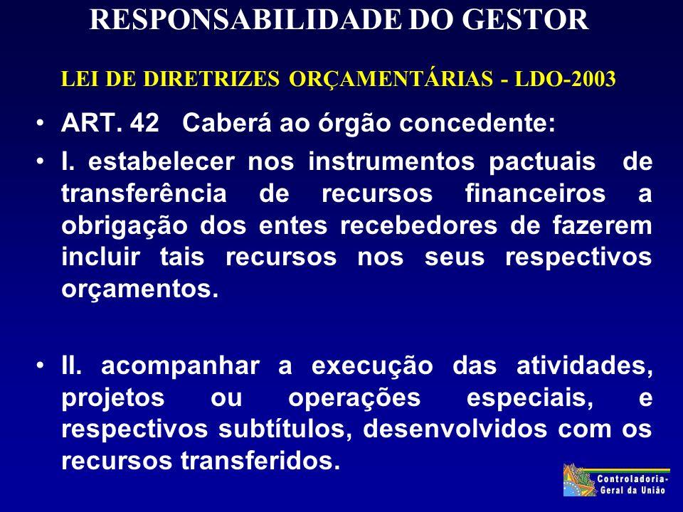 RESPONSABILIDADE DO GESTOR LEI DE DIRETRIZES ORÇAMENTÁRIAS - LDO-2003 ART.