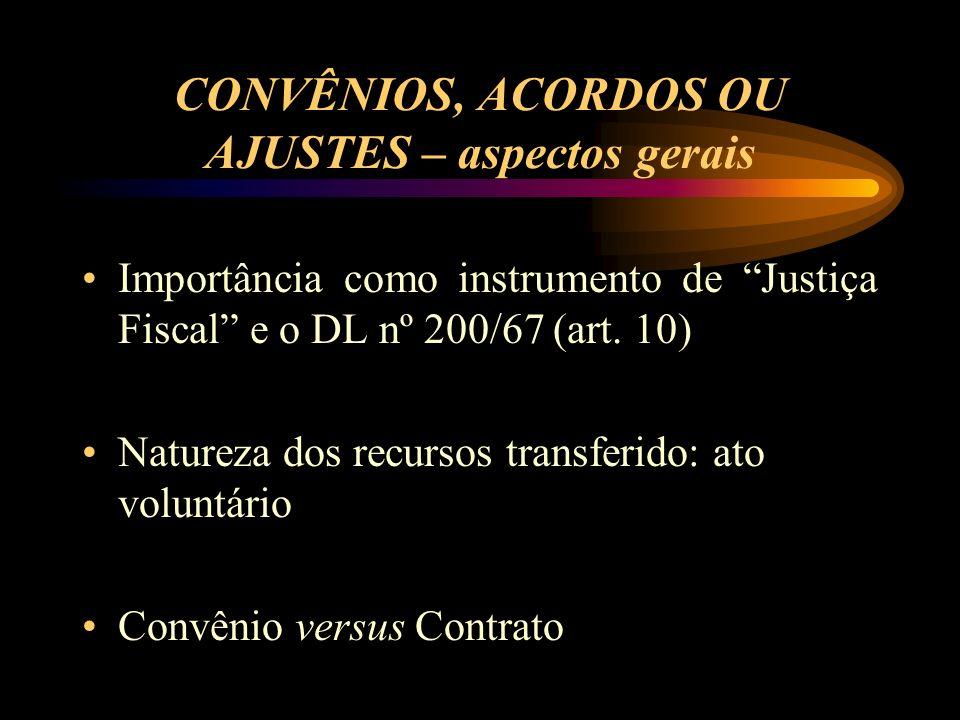 CONVÊNIOS, ACORDOS OU AJUSTES – aspectos gerais Importância como instrumento de Justiça Fiscal e o DL nº 200/67 (art.