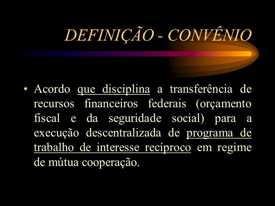 ASPECTOS LEGAIS Instrução Normativa STN nº 01/97 (http://www.tesouro.fazenda.gov.br/legislacao/leg_co ntabilidade.asp) Lei de Licitações - Lei nº 8666/93 (www.planalto.gov.br) Lei nº 4320/64 e Decreto nº 93.872/86 (www.planalto.gov.br) Instrumento de celebração do acordo em si