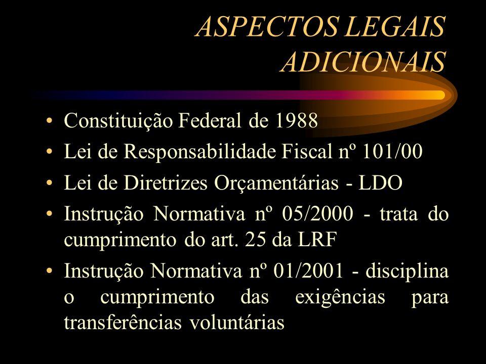 ASPECTOS LEGAIS ADICIONAIS Constituição Federal de 1988 Lei de Responsabilidade Fiscal nº 101/00 Lei de Diretrizes Orçamentárias - LDO Instrução Normativa nº 05/2000 - trata do cumprimento do art.