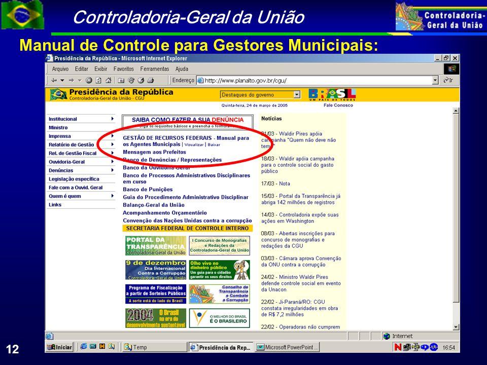 Controladoria-Geral da União 12 Manual de Controle para Gestores Municipais: