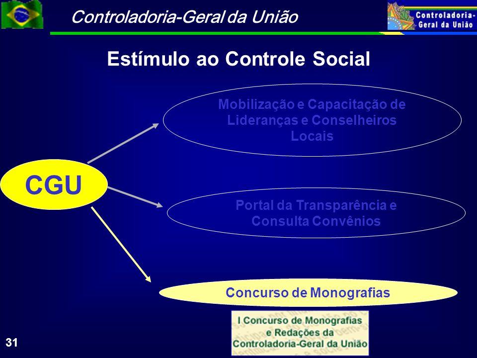 Controladoria-Geral da União 31 CGU Mobilização e Capacitação de Lideranças e Conselheiros Locais Portal da Transparência e Consulta Convênios Concurso de Monografias Estímulo ao Controle Social