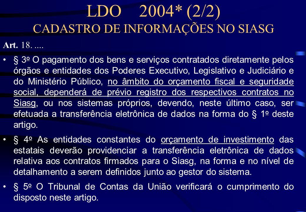 LDO 2004* (1/2) CADASTRO DE INFORMAÇÕES NO SIASG Art. 18. Os órgãos e entidades integrantes dos orçamentos da União deverão disponibilizar no Sistema