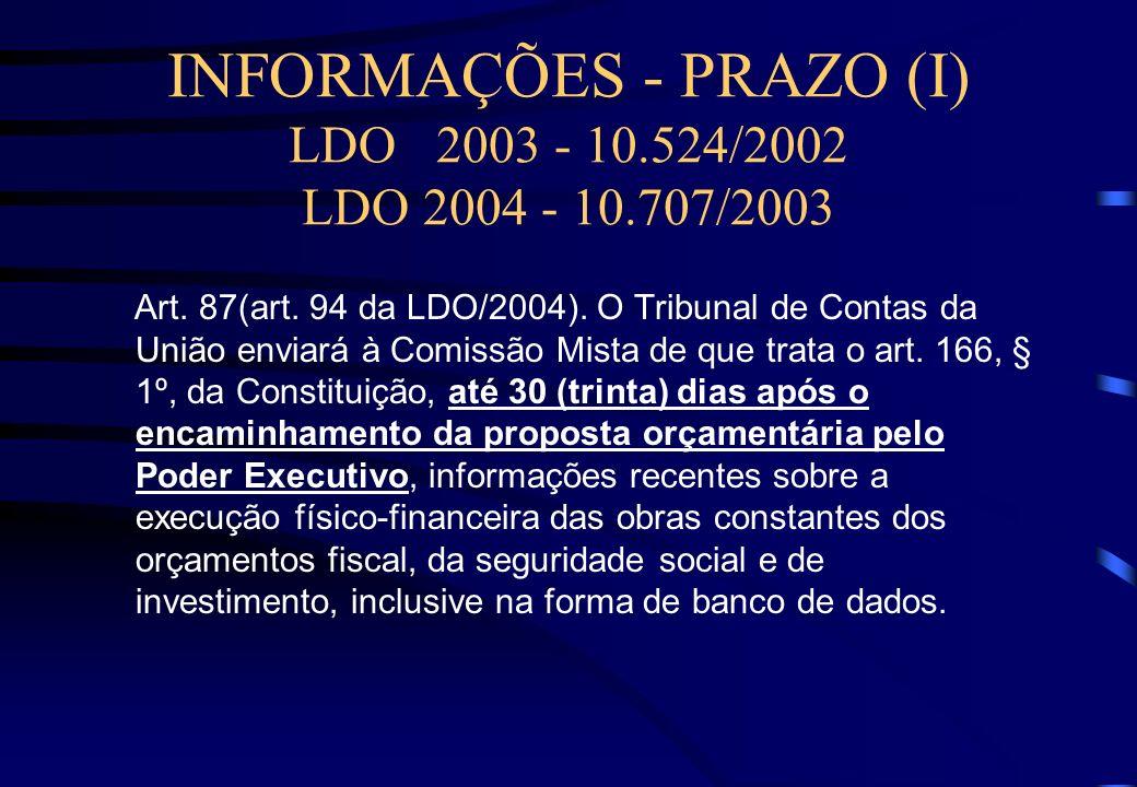 LDO 2004* SISTEMA REFERENCIAL DE PREÇOS Art. 101. Os custos unitários de materiais e serviços de obras executadas com recursos dos orçamentos da União