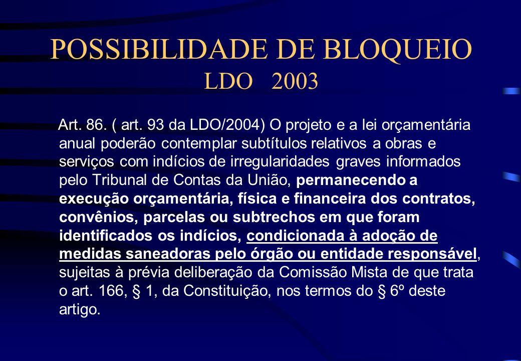 SELEÇÃO DAS OBRAS LDO 2003 § 2º A seleção das obras a serem fiscalizadas deve considerar, dentre outros fatores, o valor liquidado no exercício de 200