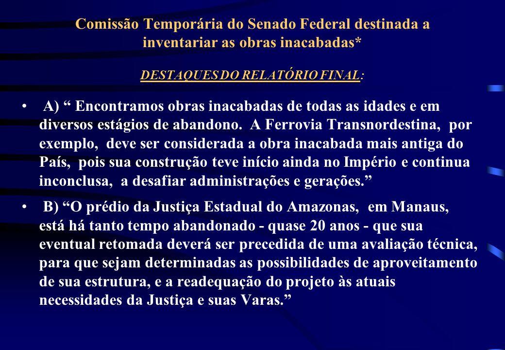 HISTÓRICO DA FISCALIZAÇÃO DE OBRAS 1995: Comissão Temporária do Senado Federal destinada a inventariar as obras inacabadas 0BRAS CADASTRADAS: 2.214 obras Investimento: R$ 15,0 bilhões