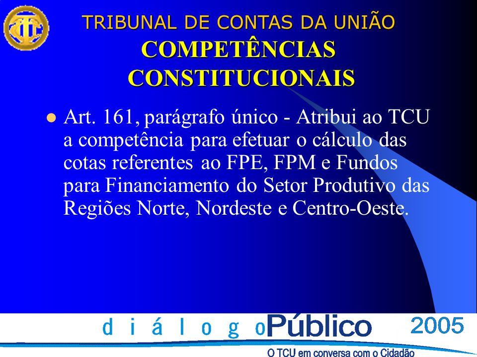 TRIBUNAL DE CONTAS DA UNIÃO COMPETÊNCIAS CONSTITUCIONAIS Art. 161, parágrafo único - Atribui ao TCU a competência para efetuar o cálculo das cotas ref