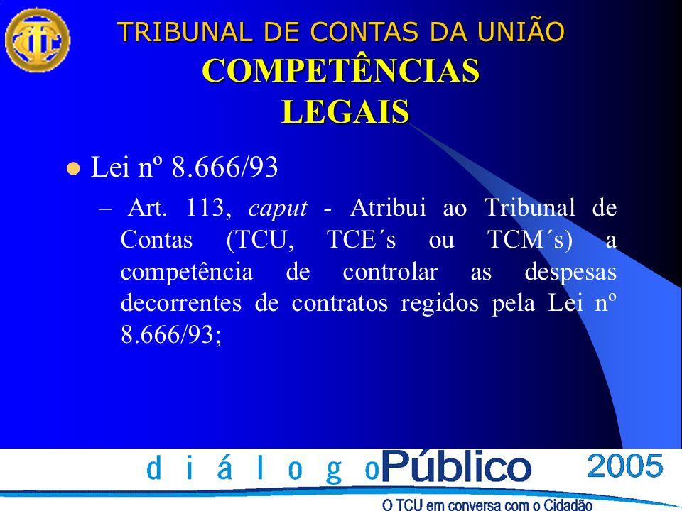 TRIBUNAL DE CONTAS DA UNIÃO COMPETÊNCIAS LEGAIS Lei nº 8.666/93 – Art. 113, caput - Atribui ao Tribunal de Contas (TCU, TCE´s ou TCM´s) a competência