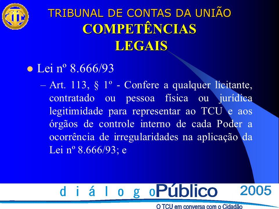 TRIBUNAL DE CONTAS DA UNIÃO COMPETÊNCIAS LEGAIS Lei nº 8.666/93 –Art. 113, § 1º - Confere a qualquer licitante, contratado ou pessoa física ou jurídic