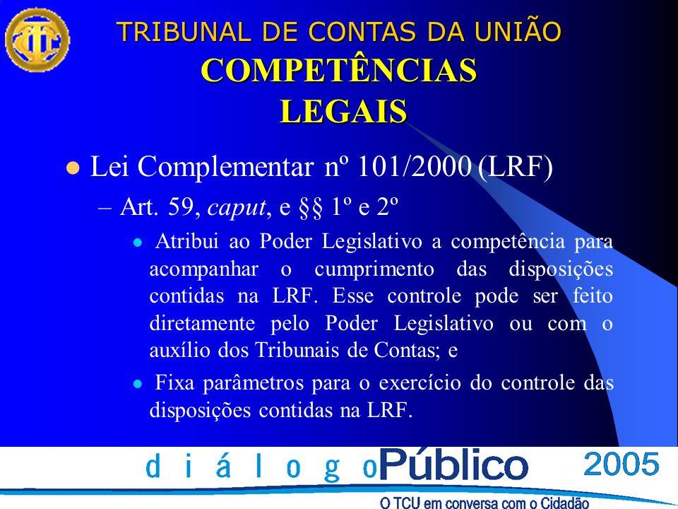 TRIBUNAL DE CONTAS DA UNIÃO COMPETÊNCIAS LEGAIS Lei Complementar nº 101/2000 (LRF) –Art. 59, caput, e §§ 1º e 2º Atribui ao Poder Legislativo a compet