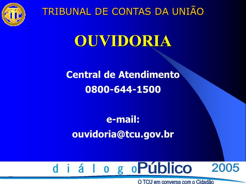 TRIBUNAL DE CONTAS DA UNIÃO OUVIDORIA Central de Atendimento 0800-644-1500 e-mail: ouvidoria@tcu.gov.br