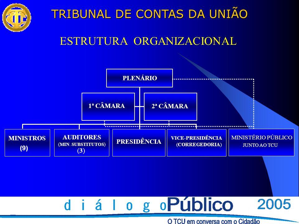 TRIBUNAL DE CONTAS DA UNIÃO 1ª CÂMARA 2ª CÂMARA MINISTROS (9) AUDITORES (MIN. SUBSTITUTOS) (3)(3) PRESIDÊNCIA VICE-PRESIDÊNCIA (CORREGEDORIA) MINISTÉR
