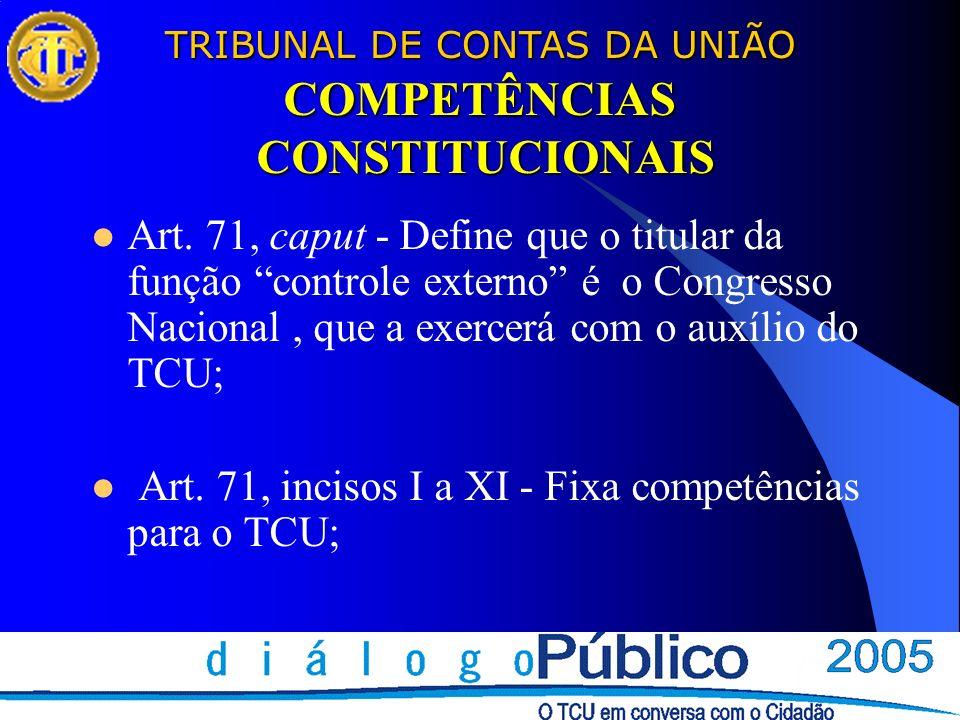 TRIBUNAL DE CONTAS DA UNIÃO COMPETÊNCIAS CONSTITUCIONAIS Art. 71, caput - Define que o titular da função controle externo é o Congresso Nacional, que
