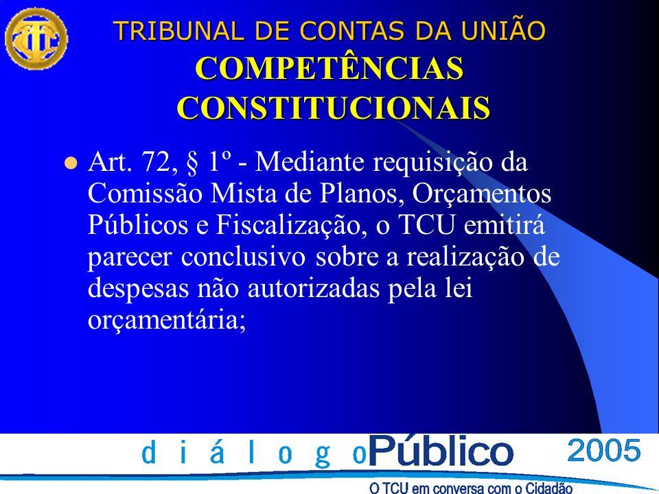 TRIBUNAL DE CONTAS DA UNIÃO COMPETÊNCIAS CONSTITUCIONAIS Art. 72, § 1º - Mediante requisição da Comissão Mista de Planos, Orçamentos Públicos e Fiscal