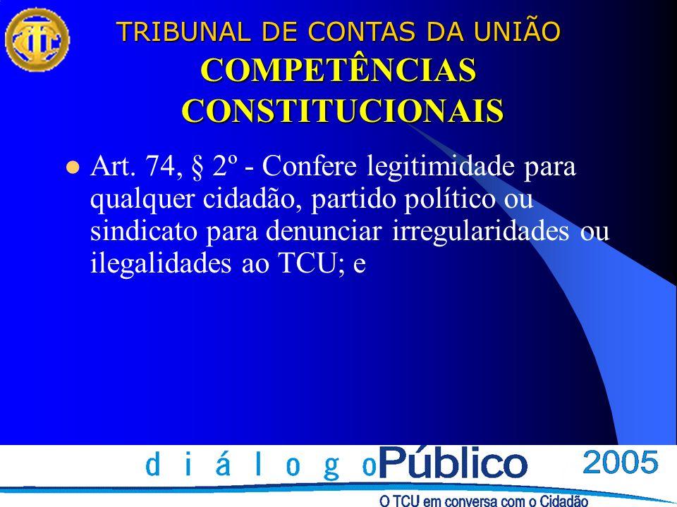 TRIBUNAL DE CONTAS DA UNIÃO COMPETÊNCIAS CONSTITUCIONAIS Art. 74, § 2º - Confere legitimidade para qualquer cidadão, partido político ou sindicato par
