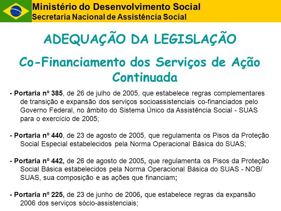 ADEQUAÇÃO DA LEGISLAÇÃO Co-Financiamento dos Serviços de Ação Continuada - Portaria nº 385, de 26 de julho de 2005, que estabelece regras complementar