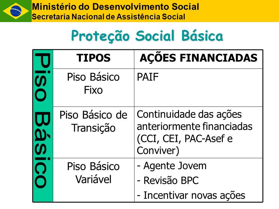 Proteção Social Básica PAIFPiso Básico Fixo - Agente Jovem - Revisão BPC - Incentivar novas ações Piso Básico Variável Piso Básico de Transição TIPOS