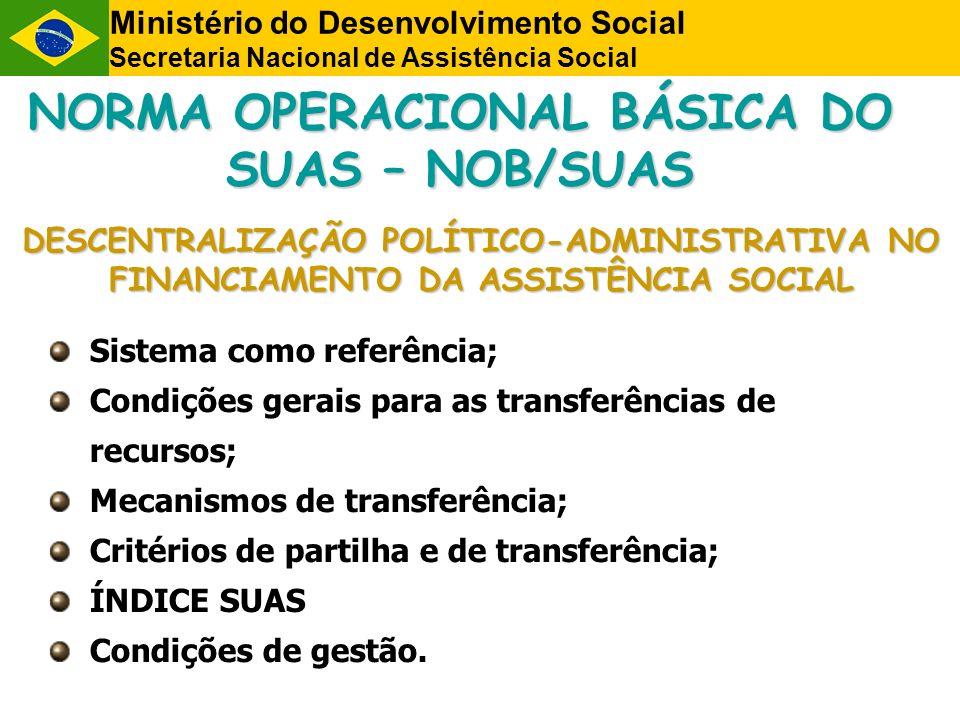 NORMA OPERACIONAL BÁSICA DO SUAS – NOB/SUAS DESCENTRALIZAÇÃO POLÍTICO-ADMINISTRATIVA NO FINANCIAMENTO DA ASSISTÊNCIA SOCIAL Sistema como referência; C