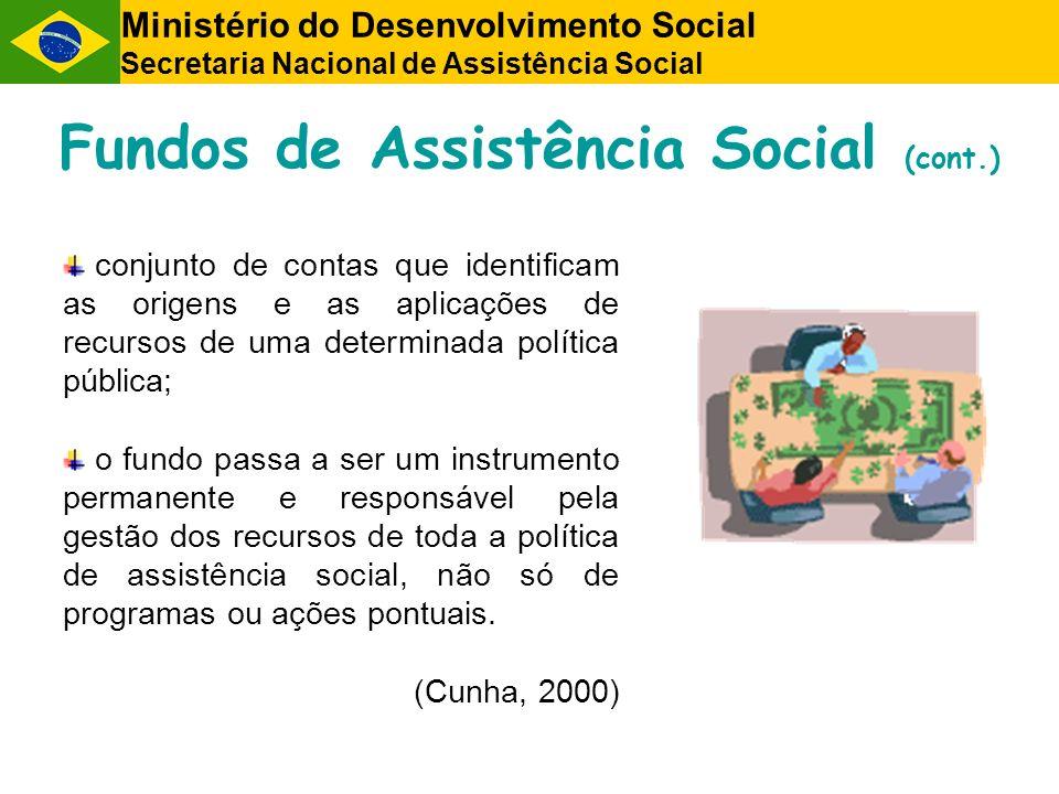 Ministério do Desenvolvimento Social Secretaria Nacional de Assistência Social Fundos de Assistência Social (cont.) conjunto de contas que identificam