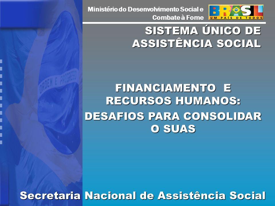 Ministério do Desenvolvimento Social e Combate à Fome SISTEMA ÚNICO DE ASSISTÊNCIA SOCIAL FINANCIAMENTO E RECURSOS HUMANOS: DESAFIOS PARA CONSOLIDAR O SUAS Secretaria Nacional de Assistência Social