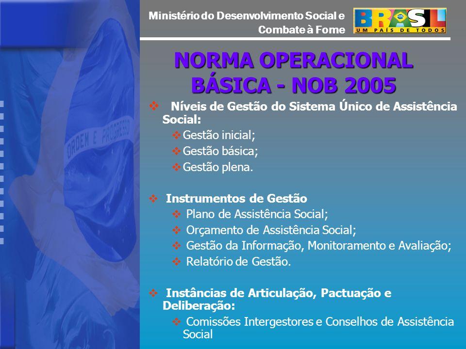 Ministério do Desenvolvimento Social e Combate à Fome NORMA OPERACIONAL BÁSICA - NOB 2005 Níveis de Gestão do Sistema Único de Assistência Social: Gestão inicial; Gestão básica; Gestão plena.