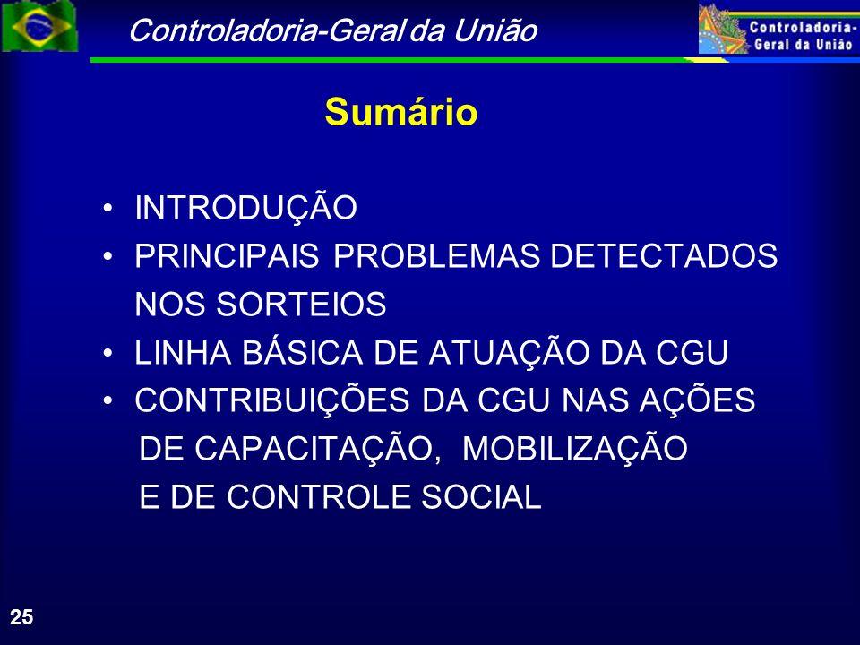 Controladoria-Geral da União 25 Sumário INTRODUÇÃO PRINCIPAIS PROBLEMAS DETECTADOS NOS SORTEIOS LINHA BÁSICA DE ATUAÇÃO DA CGU CONTRIBUIÇÕES DA CGU NAS AÇÕES DE CAPACITAÇÃO, MOBILIZAÇÃO E DE CONTROLE SOCIAL