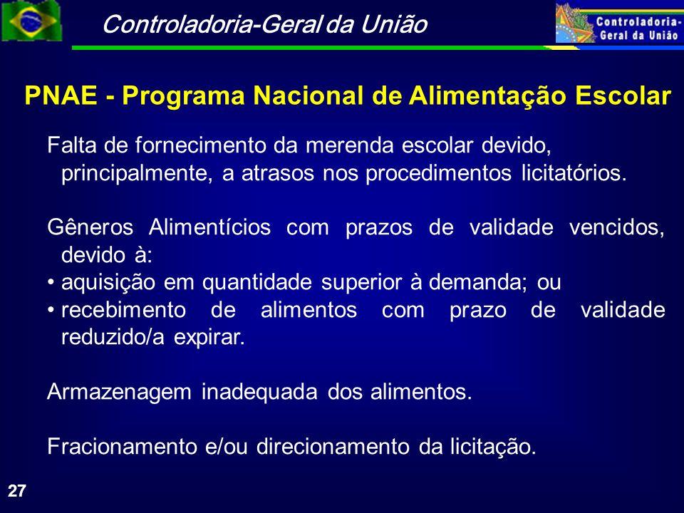 Controladoria-Geral da União 27 PNAE - Programa Nacional de Alimentação Escolar Falta de fornecimento da merenda escolar devido, principalmente, a atrasos nos procedimentos licitatórios.