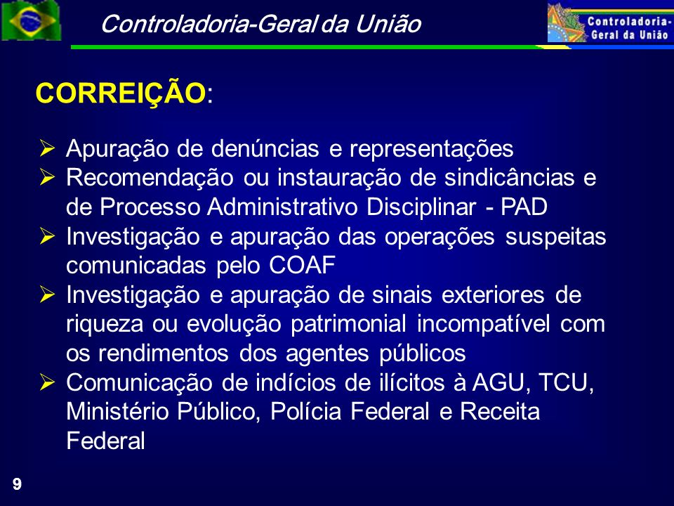 Controladoria-Geral da União 10 Recebe, examina e encaminha reclamações, elogios e sugestões referentes a procedimentos e ações de agentes, órgãos e entidades do Poder Executivo Federal OUVIDORIA: