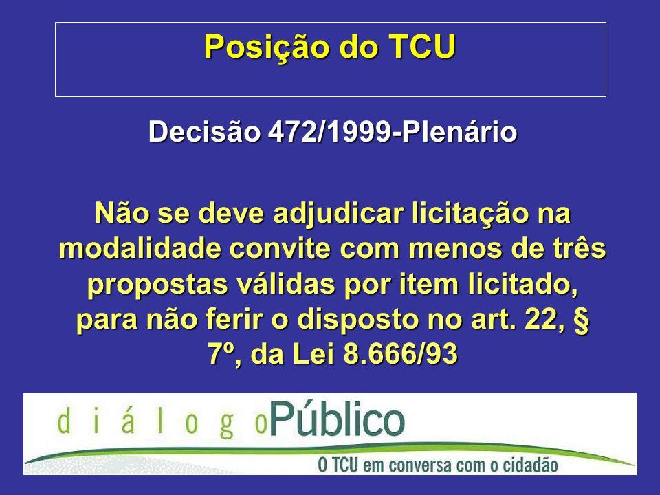 Posição do TCU Decisão 472/1999-Plenário Não se deve adjudicar licitação na modalidade convite com menos de três propostas válidas por item licitado,