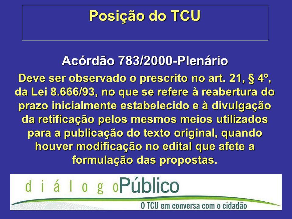 Posição do TCU Acórdão 783/2000-Plenário Deve ser observado o prescrito no art. 21, § 4º, da Lei 8.666/93, no que se refere à reabertura do prazo inic
