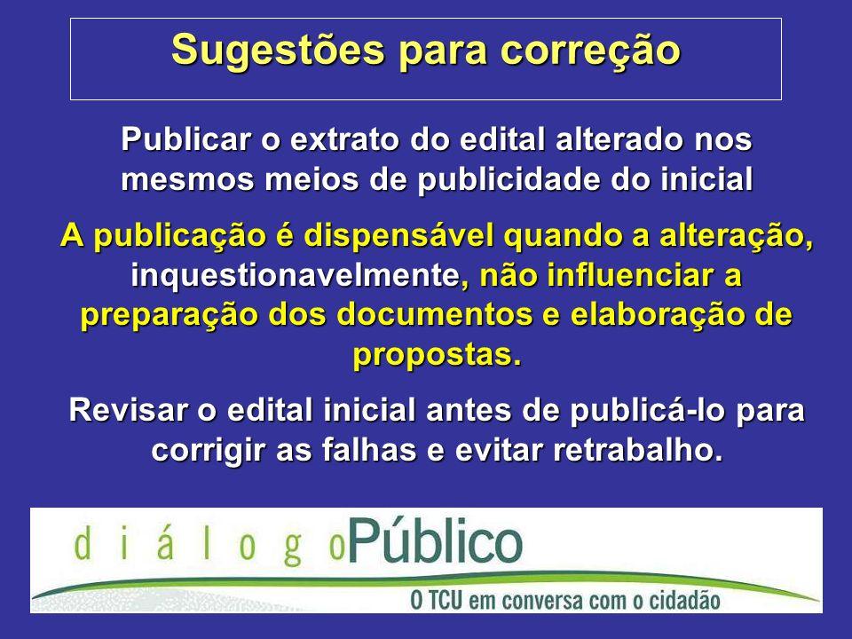 Sugestões para correção Publicar o extrato do edital alterado nos mesmos meios de publicidade do inicial A publicação é dispensável quando a alteração