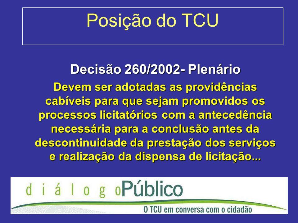 Posição do TCU Decisão 260/2002- Plenário Devem ser adotadas as providências cabíveis para que sejam promovidos os processos licitatórios com a antece