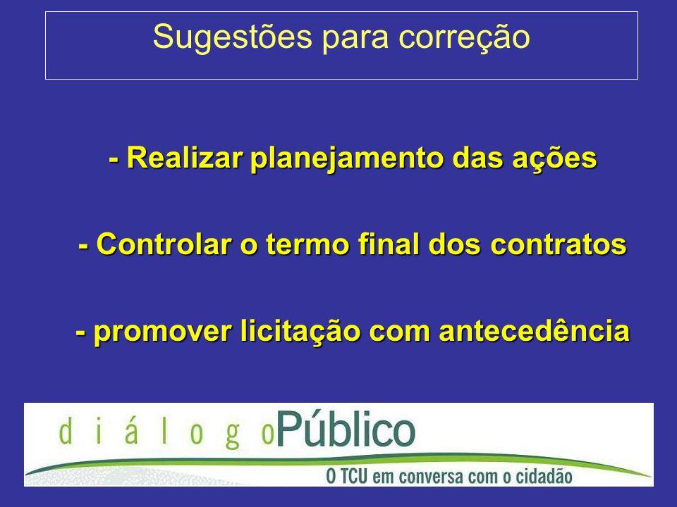 Sugestões para correção - Realizar planejamento das ações - Controlar o termo final dos contratos - promover licitação com antecedência