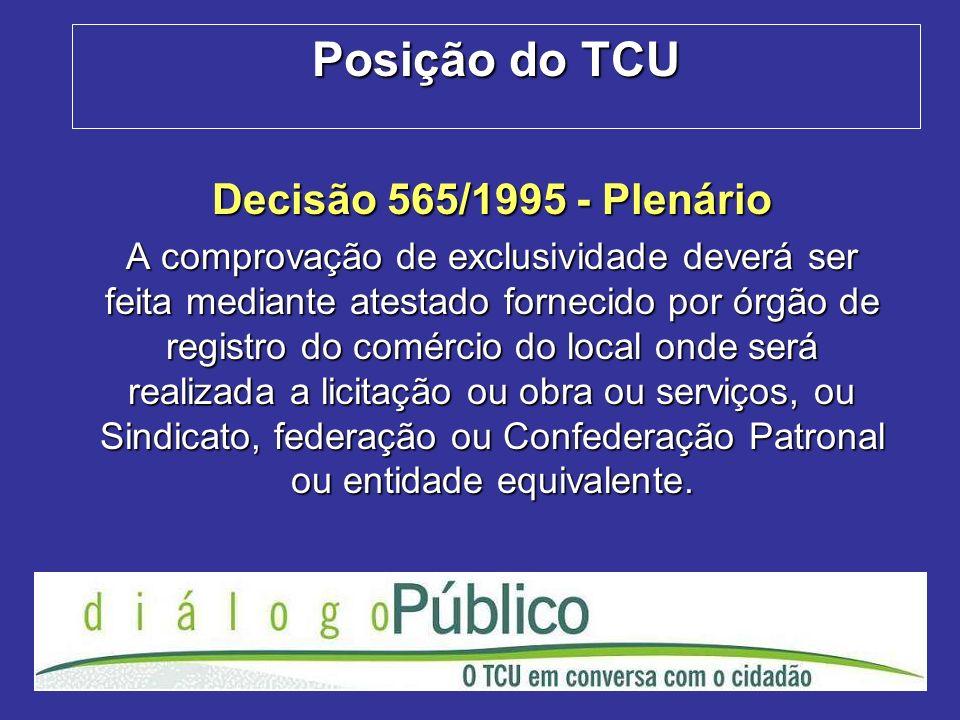 Posição do TCU Decisão 565/1995 - Plenário A comprovação de exclusividade deverá ser feita mediante atestado fornecido por órgão de registro do comérc