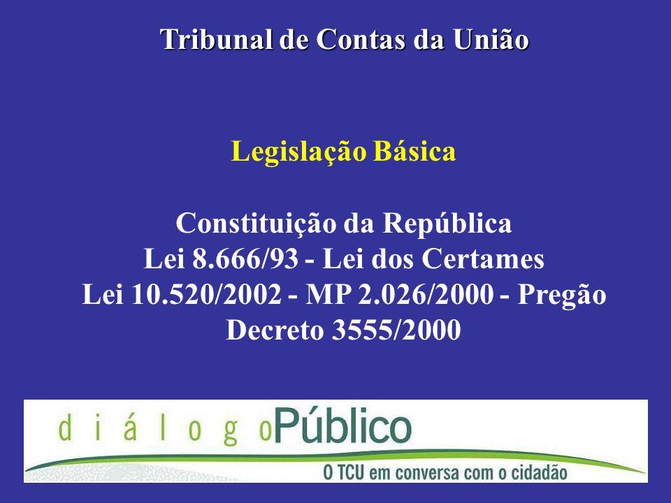 Legislação Básica Constituição da República Lei 8.666/93 - Lei dos Certames Lei 10.520/2002 - MP 2.026/2000 - Pregão Decreto 3555/2000 Tribunal de Con