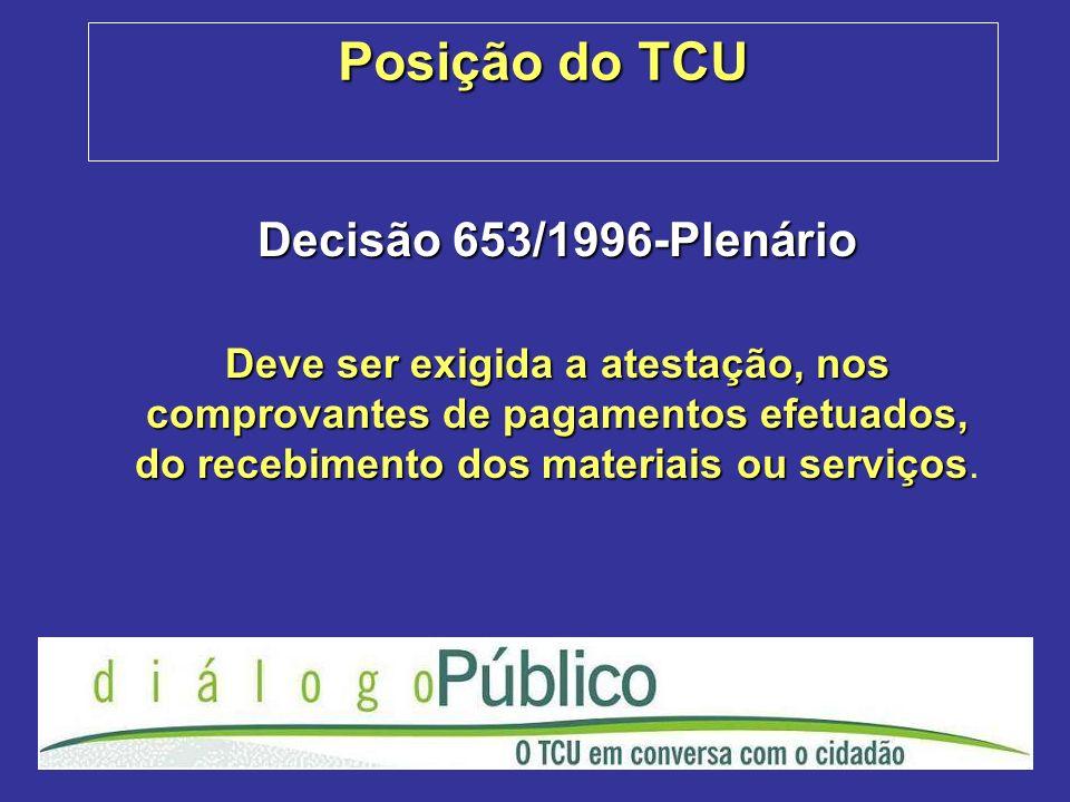 Posição do TCU Decisão 653/1996-Plenário Deve ser exigida a atestação, nos comprovantes de pagamentos efetuados, do recebimento dos materiais ou servi